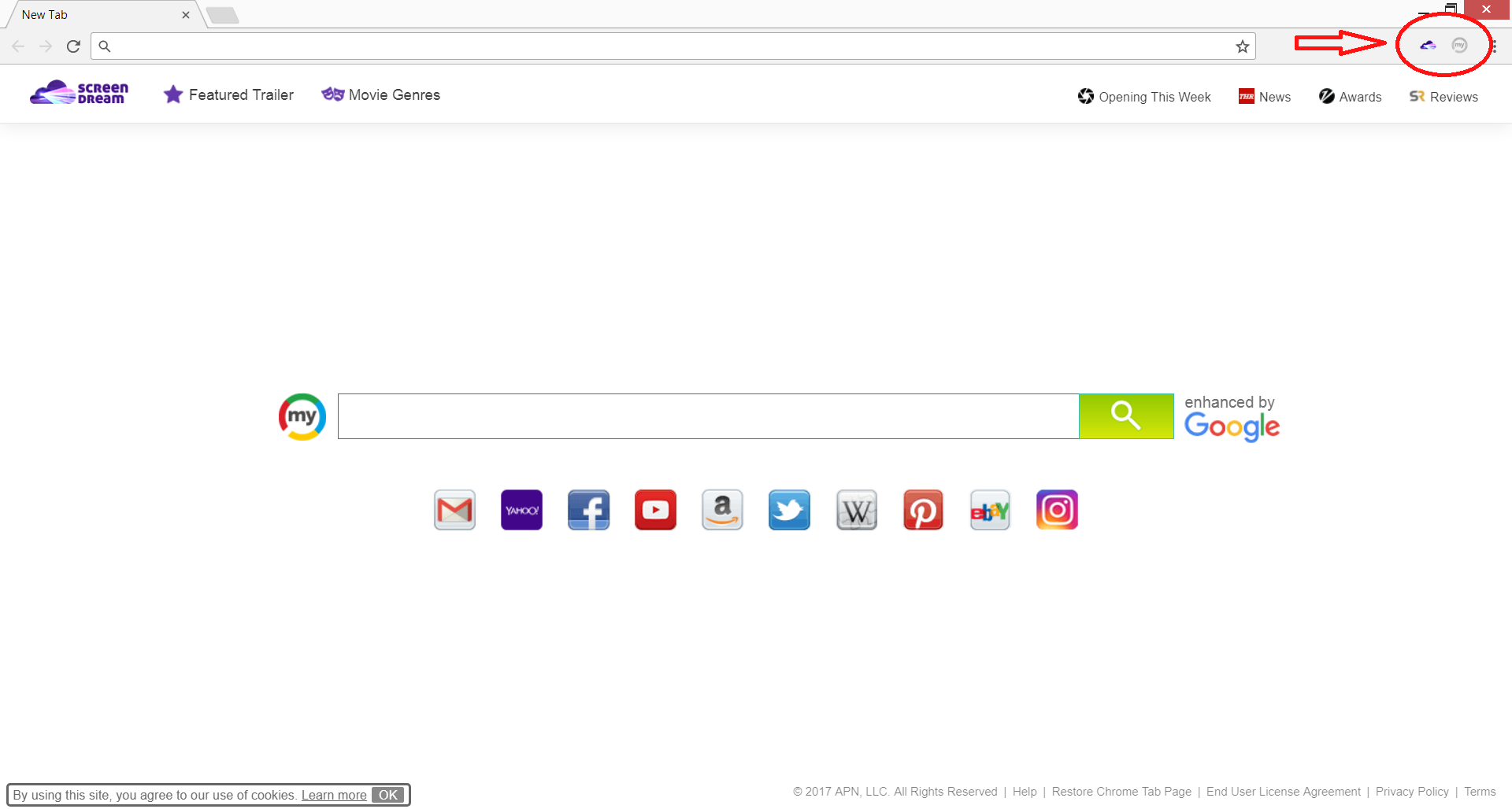 chrome browser affected by Screendream.yournewtab.com Screen Dream and MySearch D3-3 browser extensions