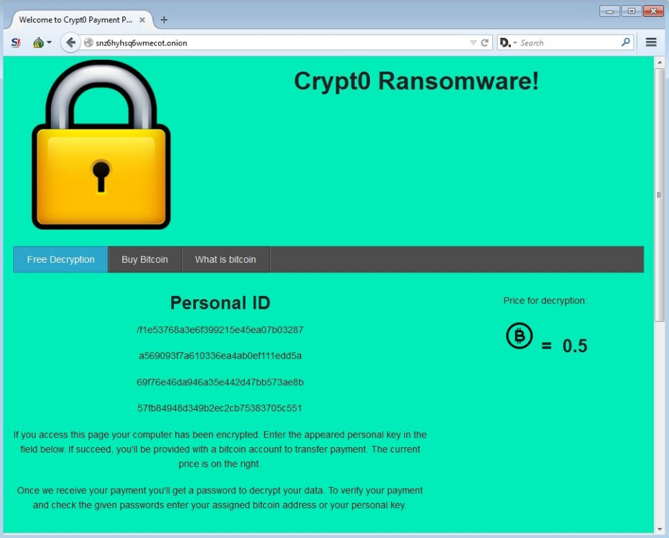 crypt0 ransomware payment page STF