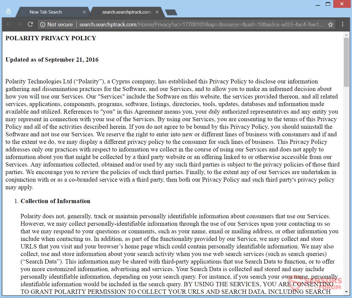 Privacy Policy: Remove Searchptrack.com Redirect