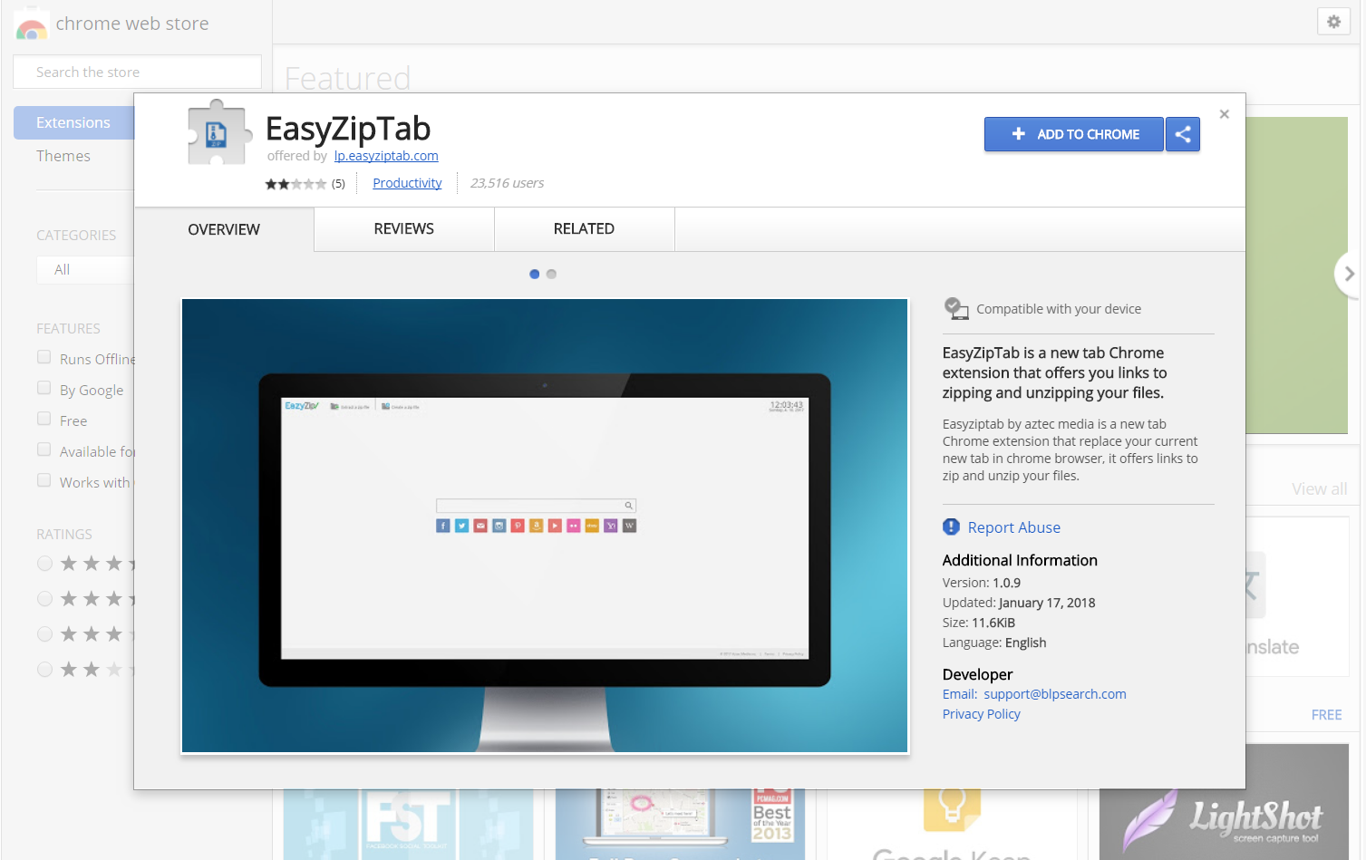 eazyziptab extension chrome web store
