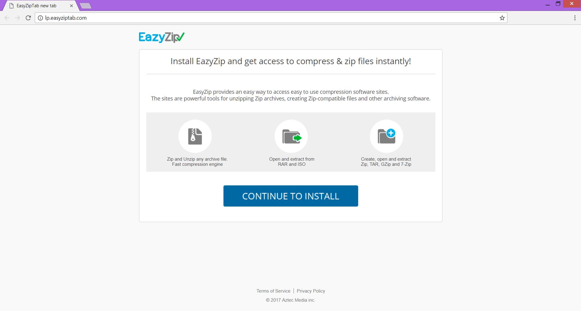 lp.easyziptab.com redirect pushes EazyZipTab chrome extension