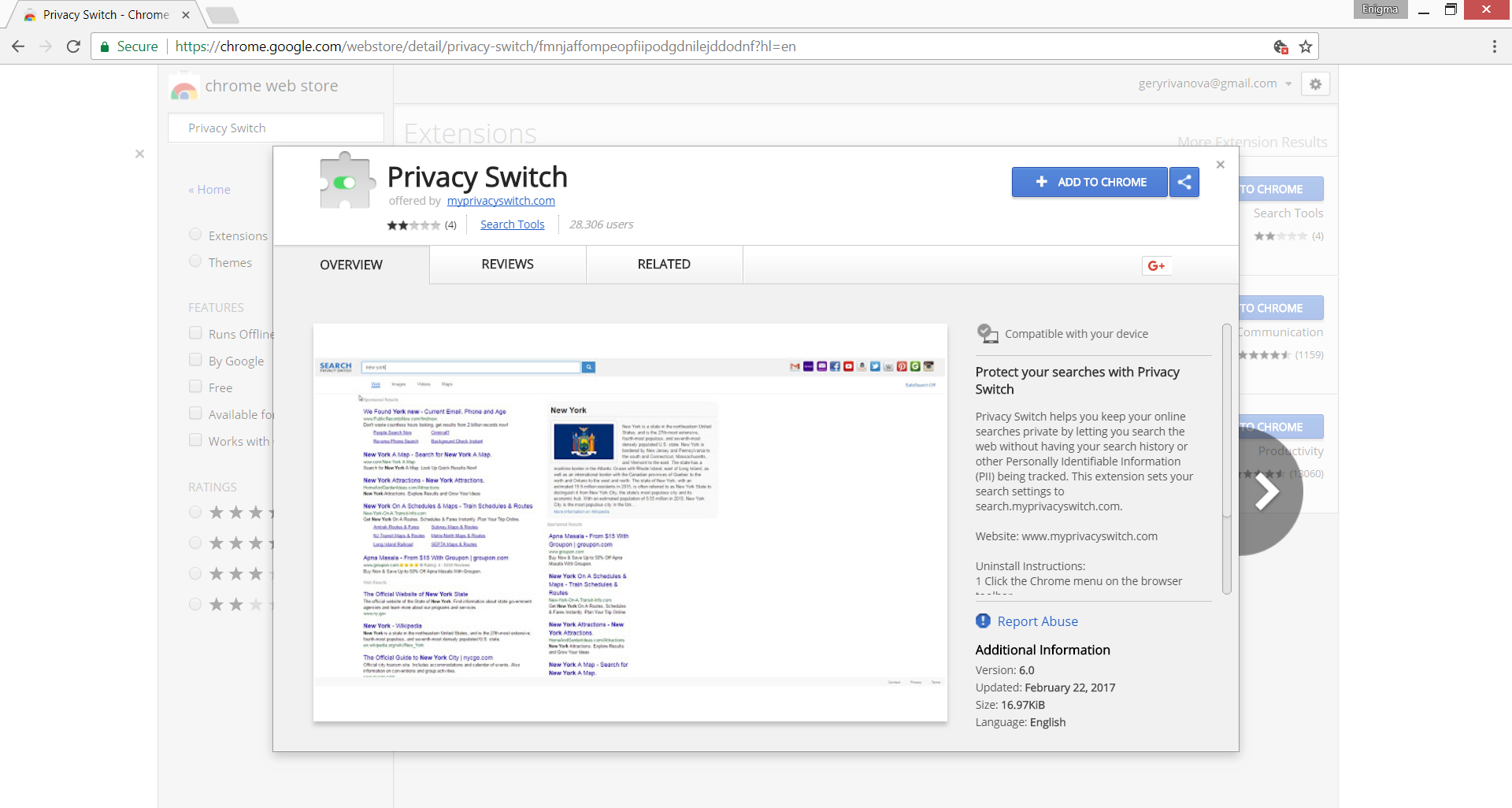 privacy switch chrome web store browser extension