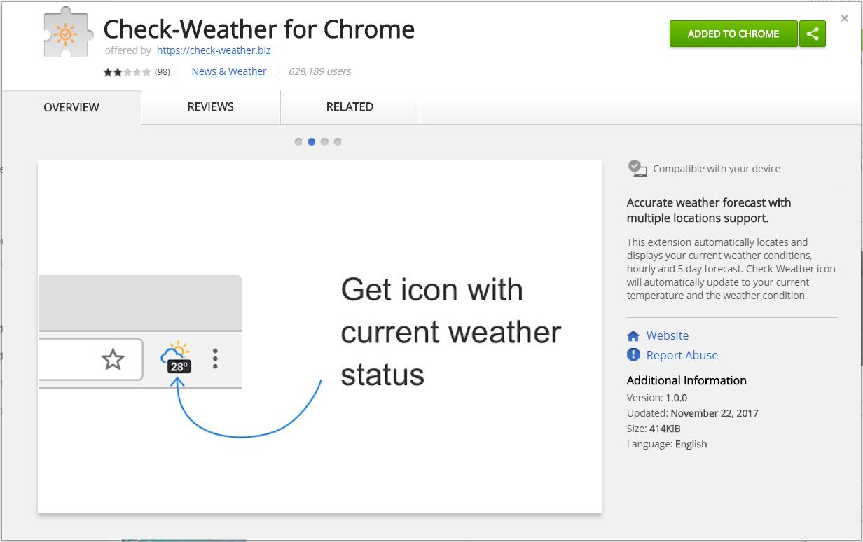 Check Weather extension chrome web store