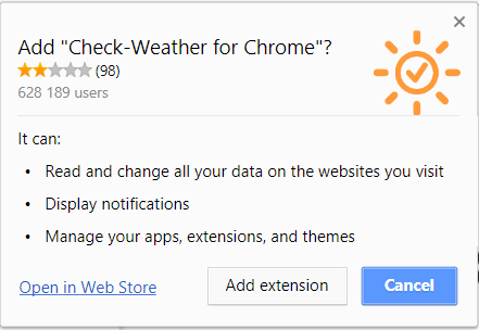 Check-weather for chrome suspicious extensions capabilities