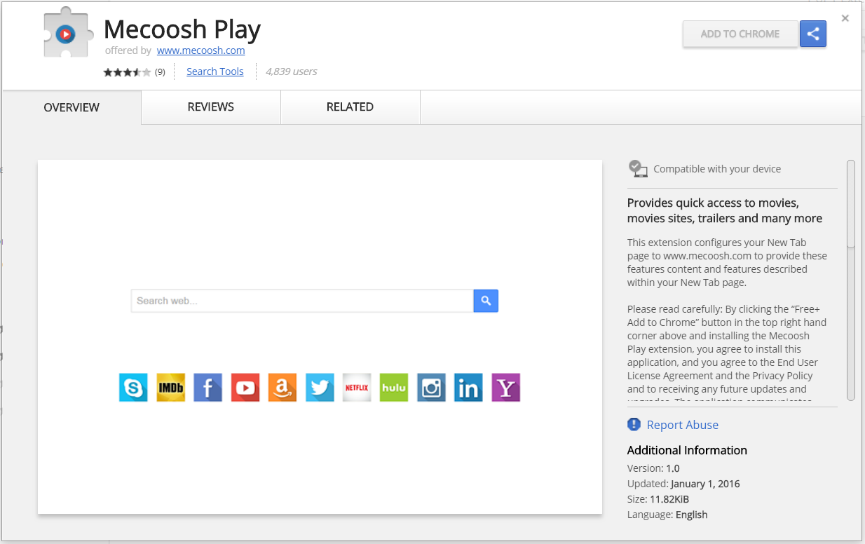 Mecoosh play chrome web store extension