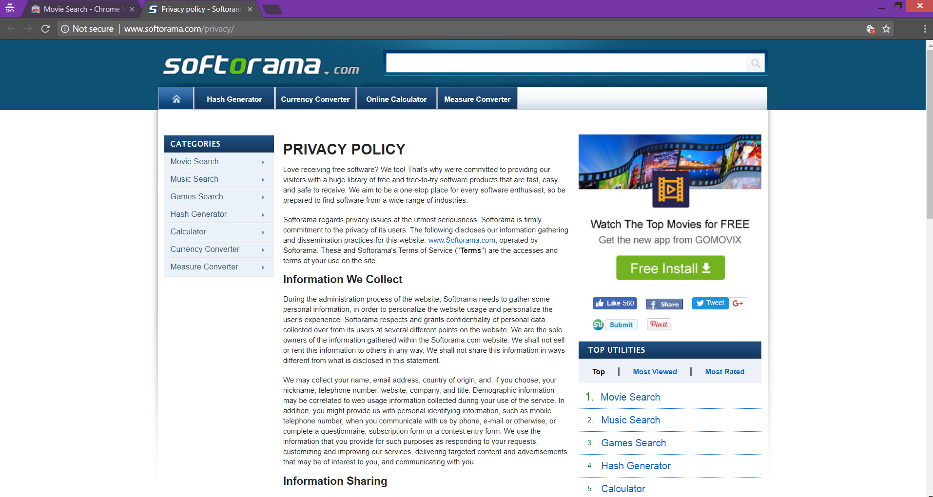 Movie Search Softorama privacy policy
