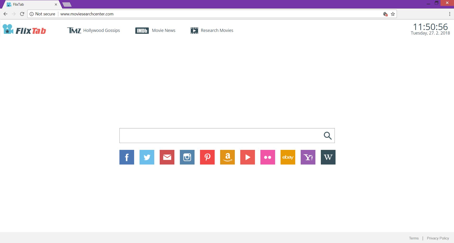 Moviesearchcenter.com FixTab browser hijacker main page