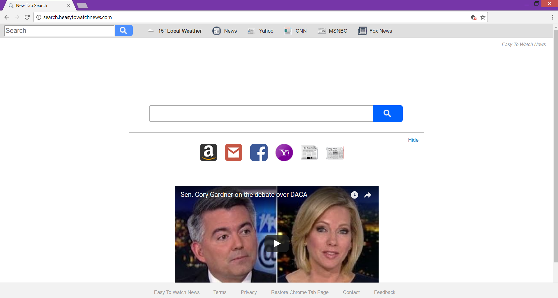 Search.heasytowatchnews.com browser hijacker main page