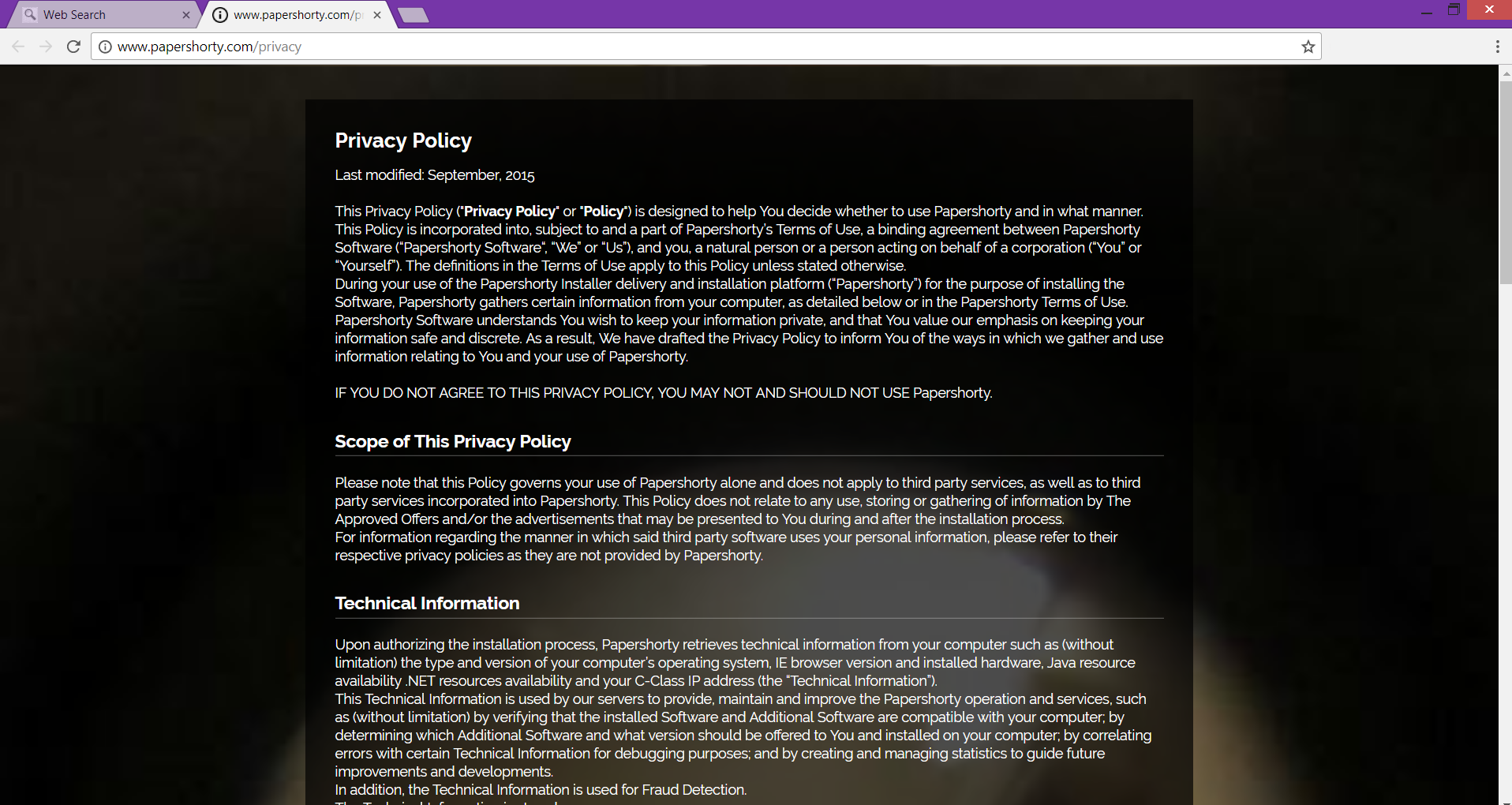 Search.papershorty.com privacy policy page