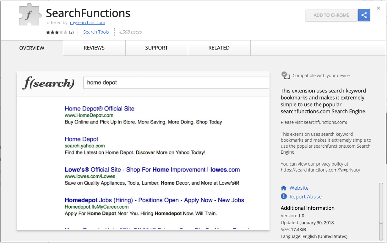 SearchFunctions browser extenson chrome web store