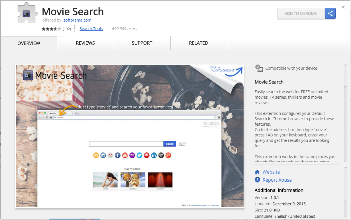 movie search browser hijacker extension chrome web store