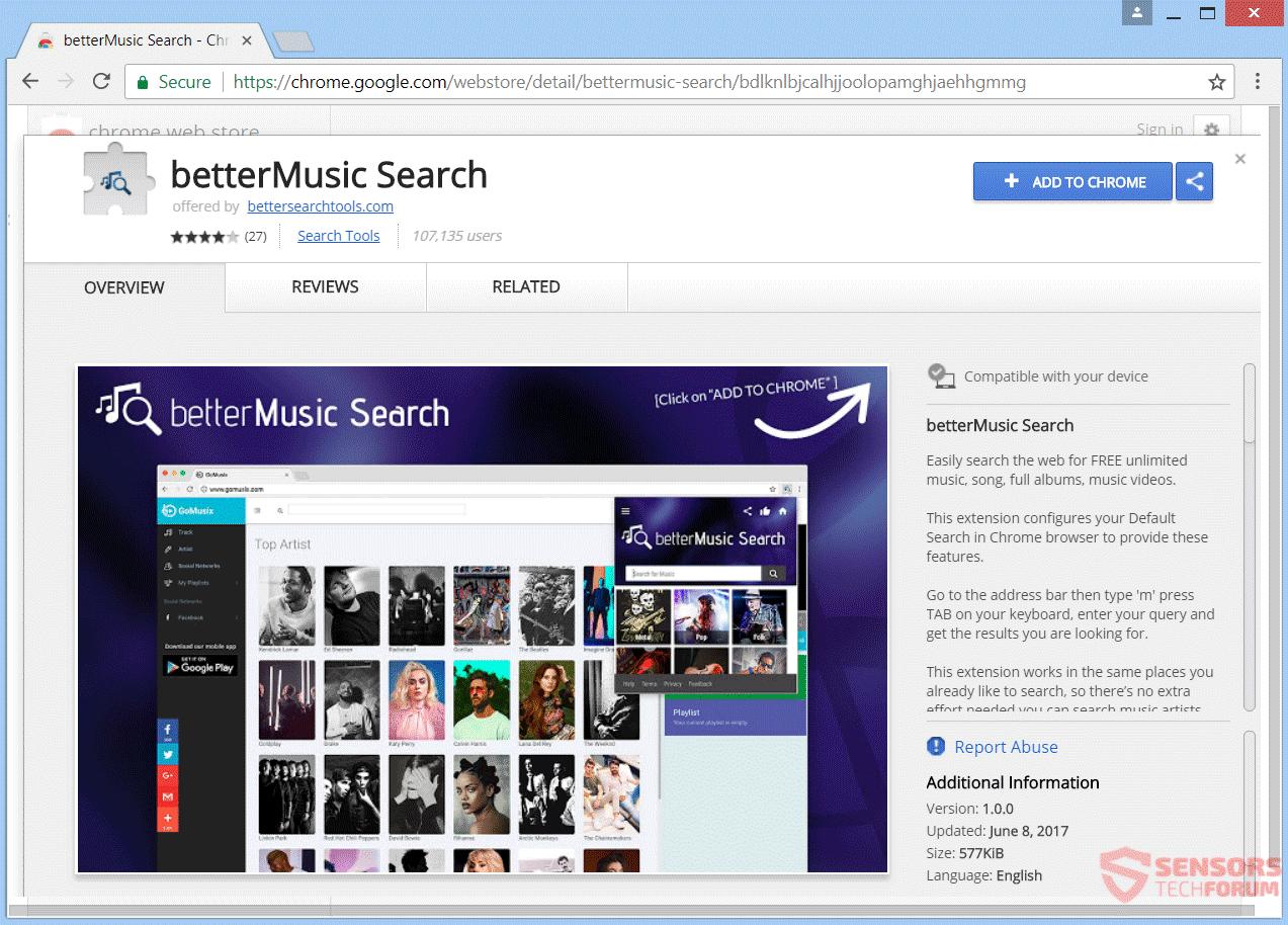 Retire BetterMusic Búsqueda de redirección