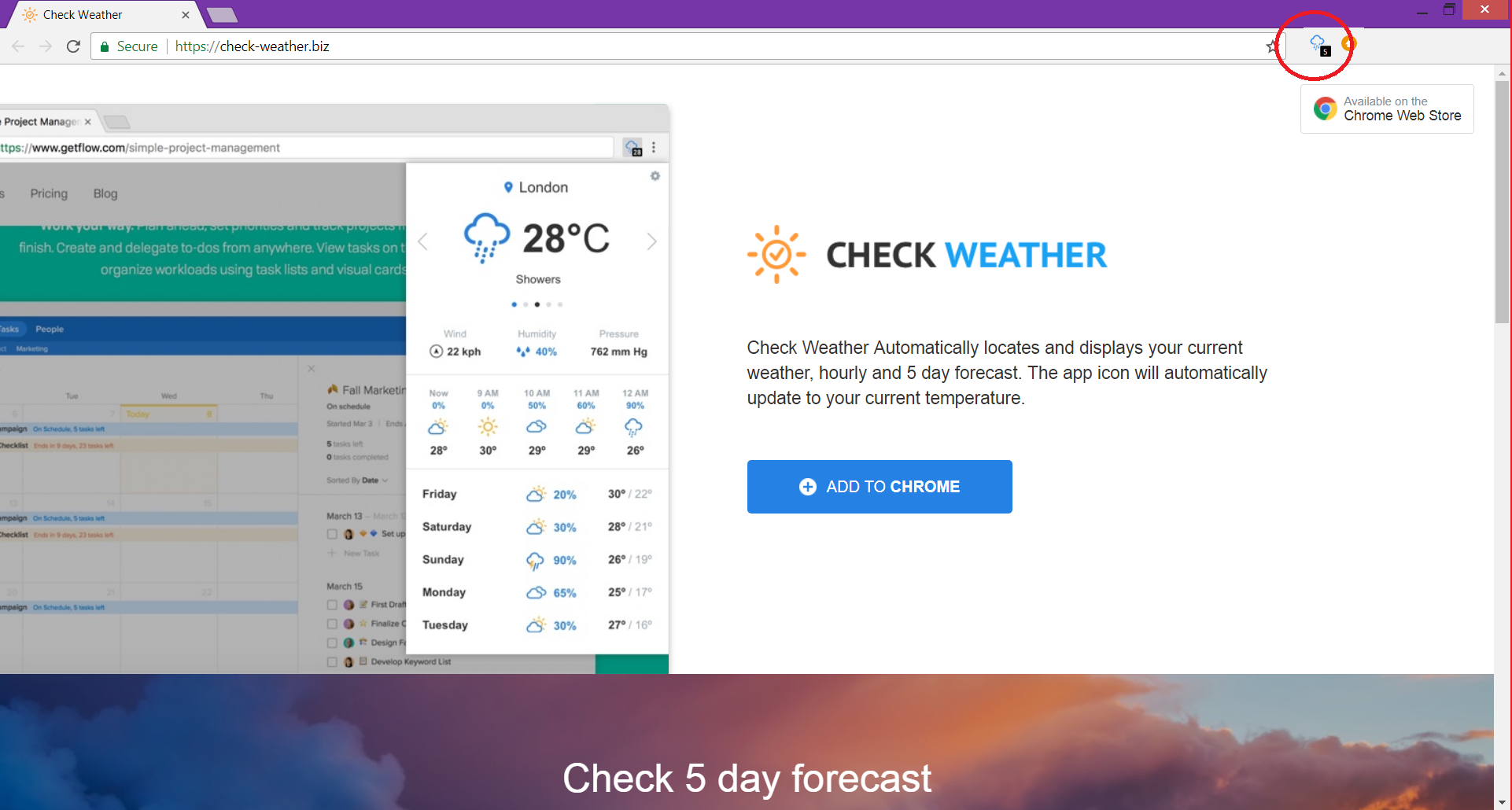 website check-weather.biz associated with check weather chrome extension