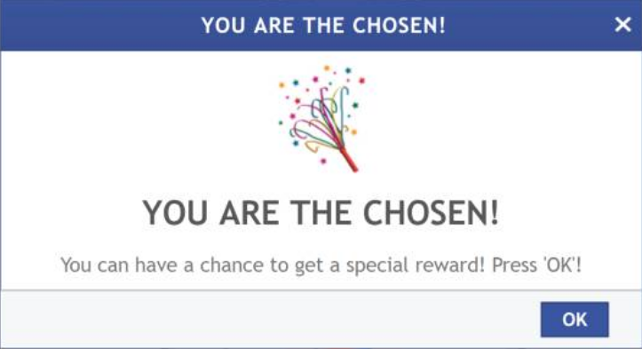 you are the chosen pop-up scam