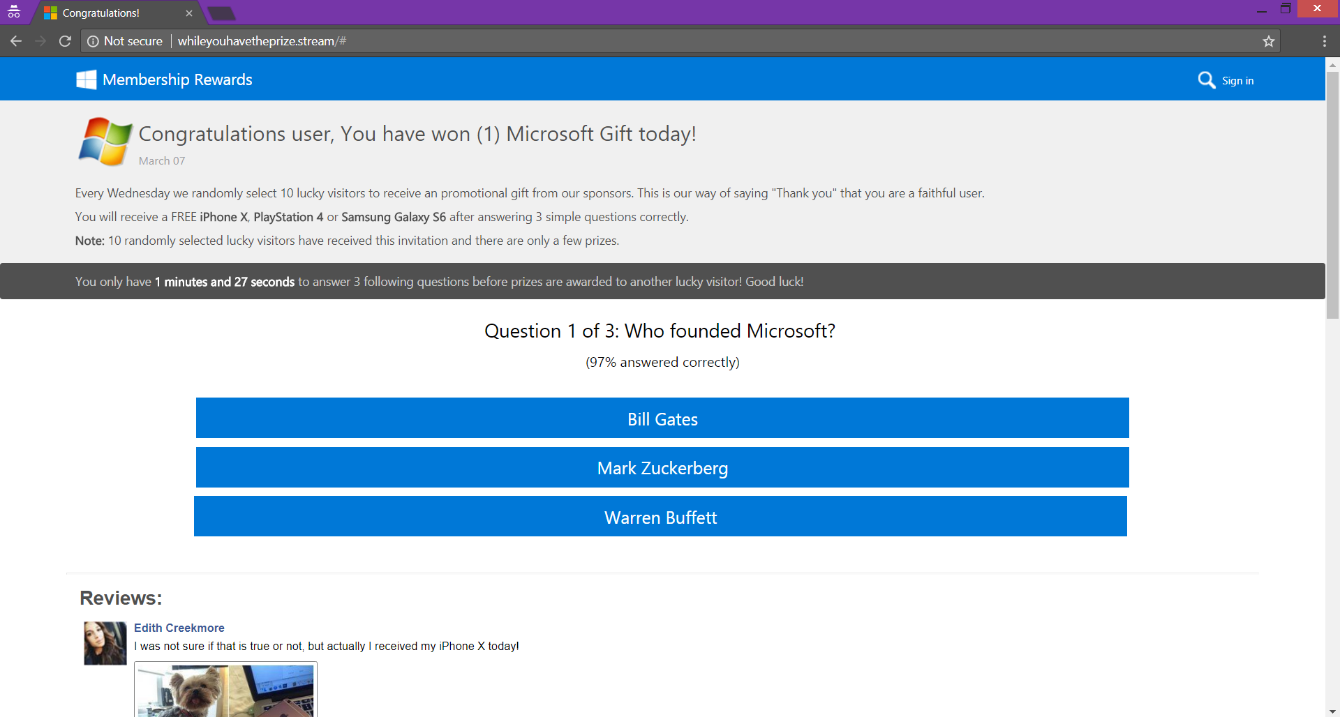 Congratulations user, You have won (1) Microsoft Gift today! scam page