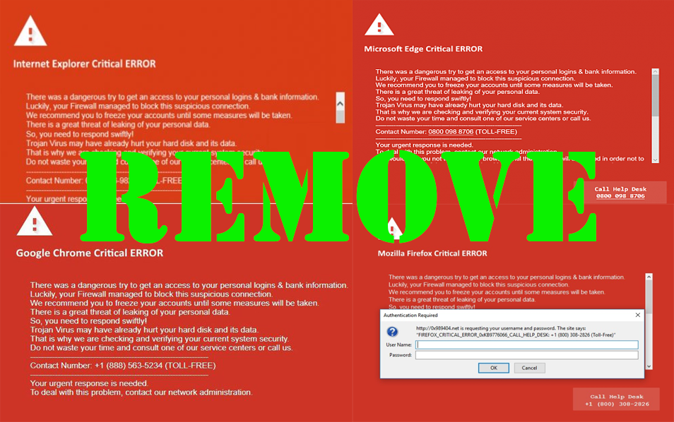 """Critical ERROR """"Virus"""" Page (Fake Red Screen) – How to Get"""