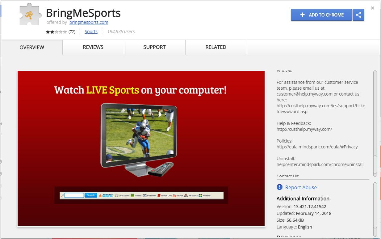 bringmesports Browser-Erweiterung Chrome Web Store