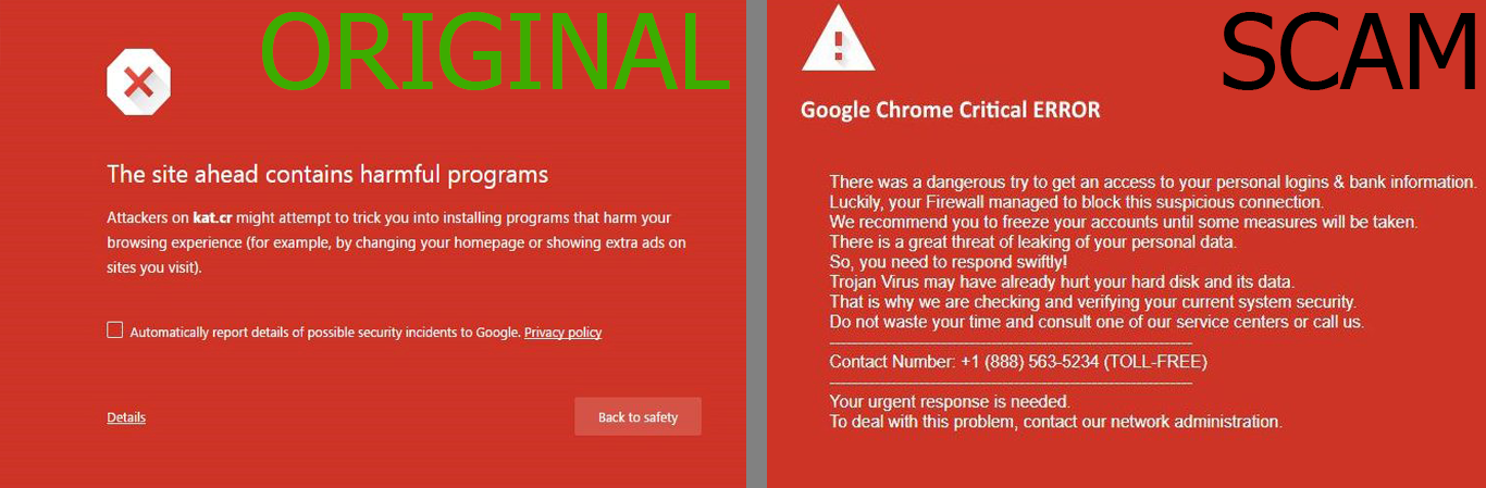 Google Chrome Critical Error Is From The Tech Support Scams Of Scam Family Possibly Created By Same Scammers