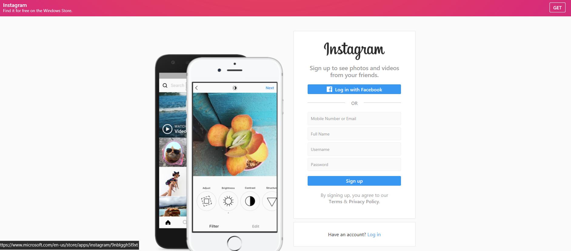 instagram web browser