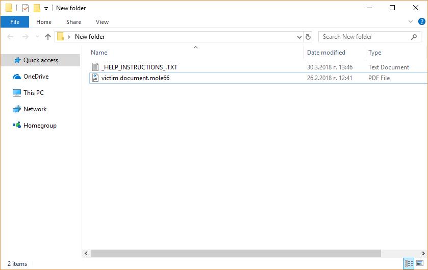 Virus MOLE66 ransomware (CryptoMix) - Cómo restaurar archivos