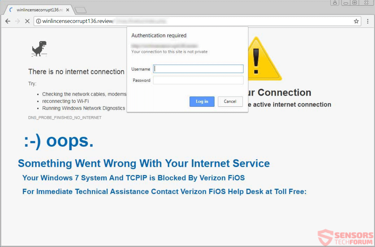 Remove Something Went Wrong With Your Internet Service Scam