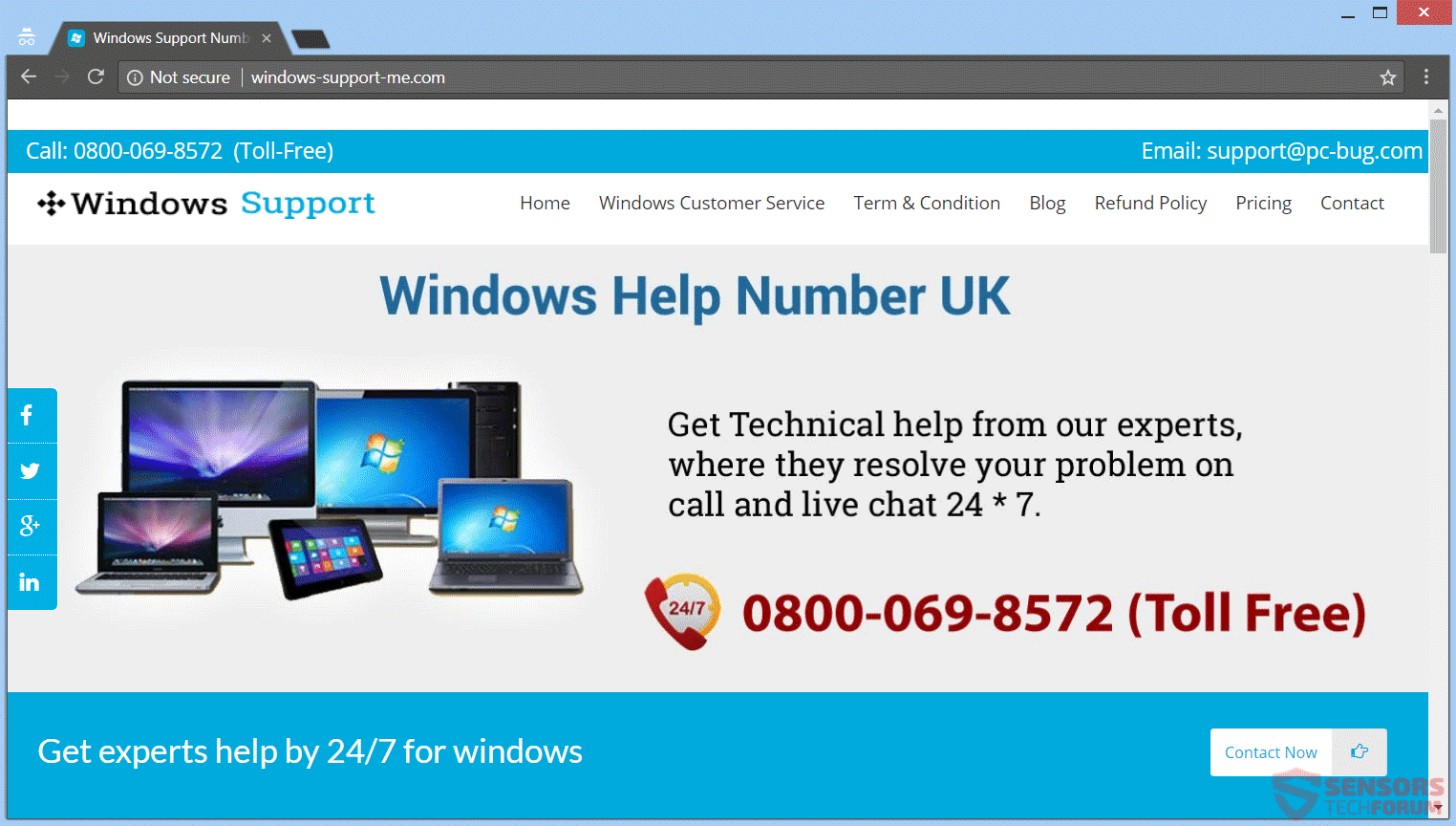 ... To Call A Microsoft Windows Helpline Number. If You Reside In Europe,  You Might End Up On This Landing Page Connected To The Same Scam And Web  Domain: