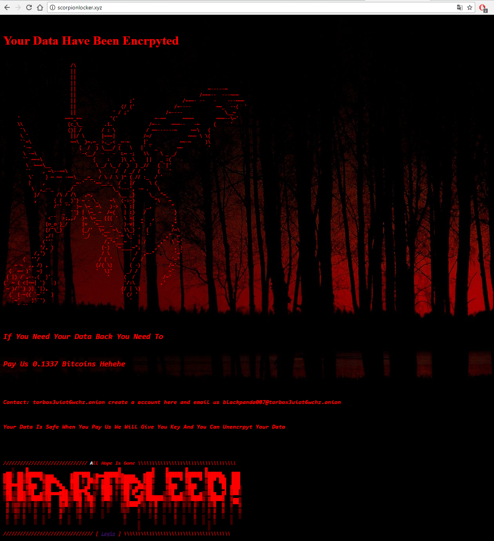 H34rtBl33d ransomware ransom payment instructions scorpionlocker.xyz web page