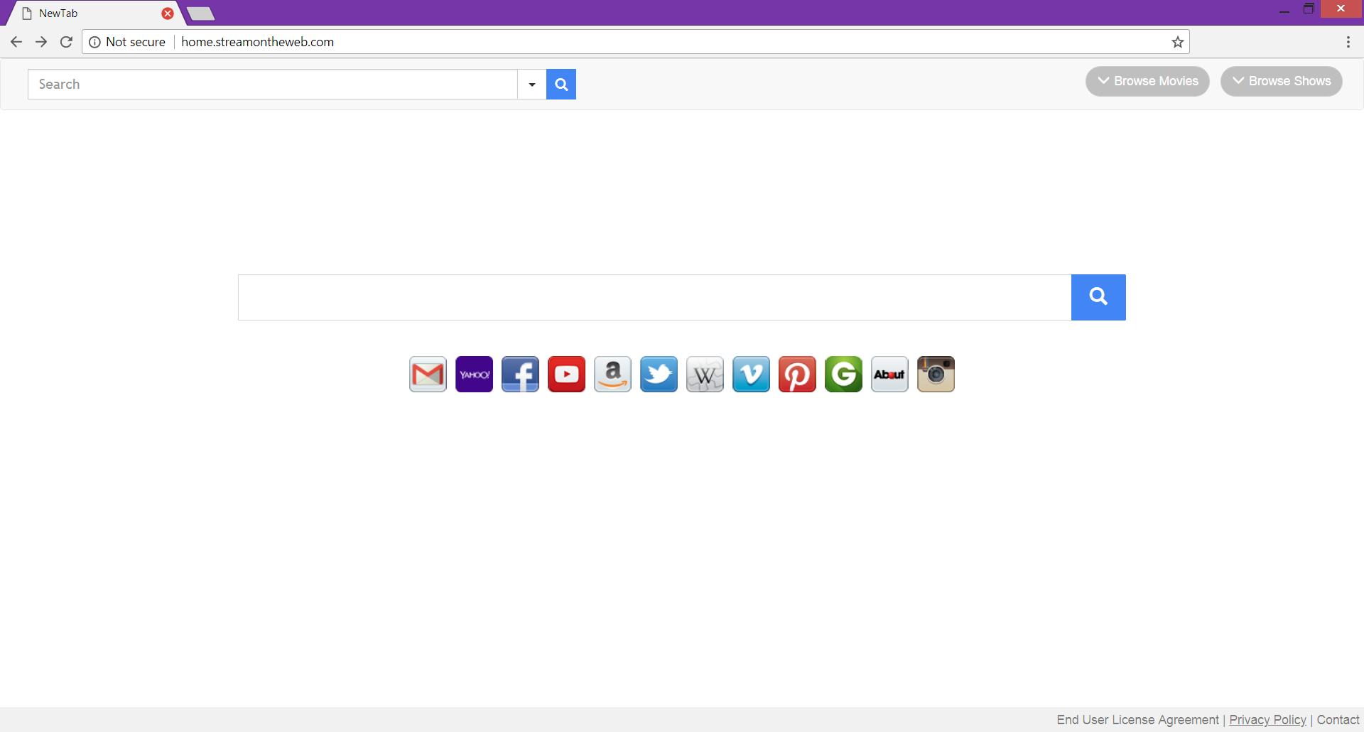 Home.streamitwhere.com hijacker main page fake search engine