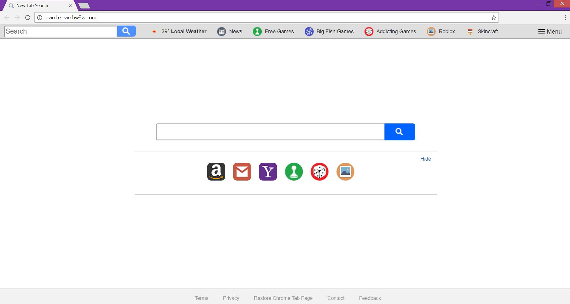 Search.searchw3w.com main page hijacks browsers