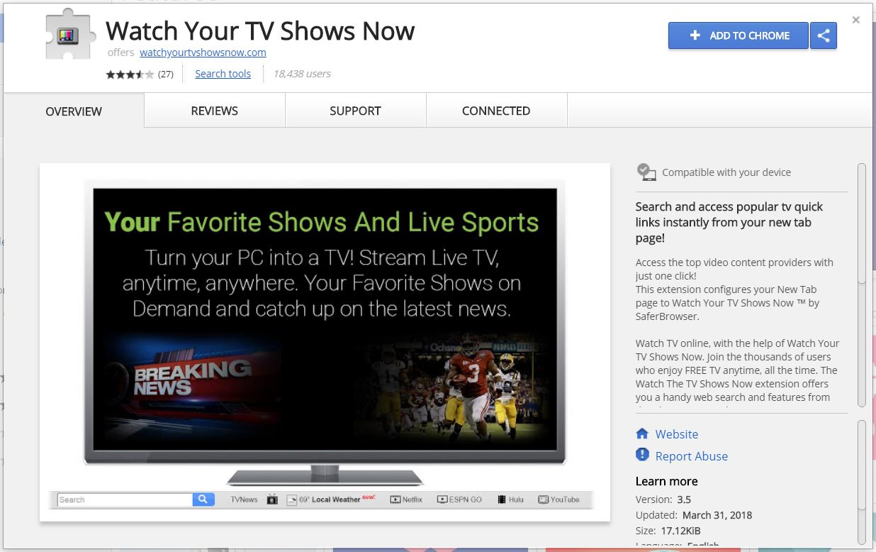 Watch Your TV Shows Now in chrome web store