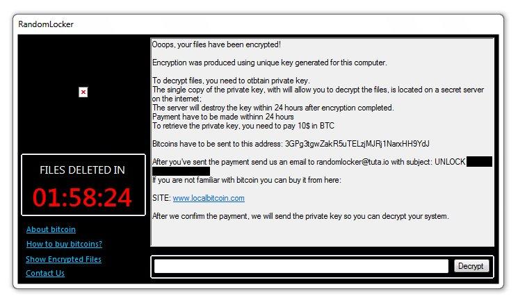 randomlocker ransomware ransom note ransom payment