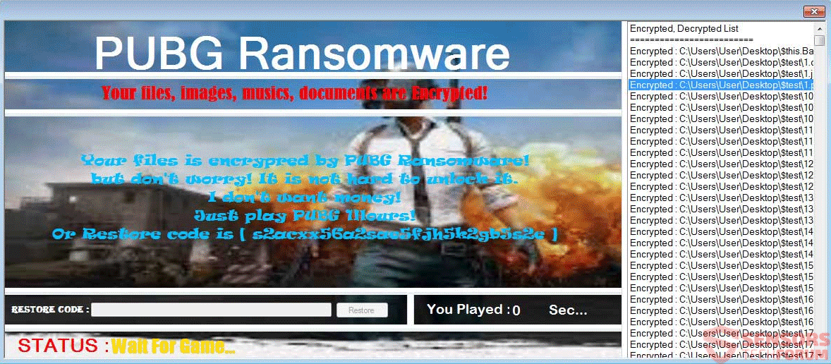 Retire PUBG ransomware - Restaurar archivos .PUBG