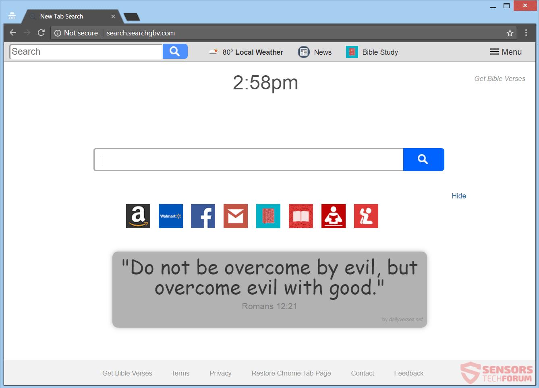 Retire Searchgbv.com secuestrador del navegador