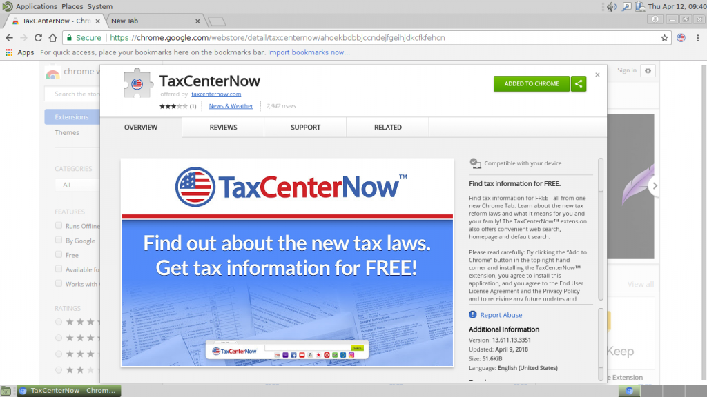 TaxCenterNow chrome web store extension entry