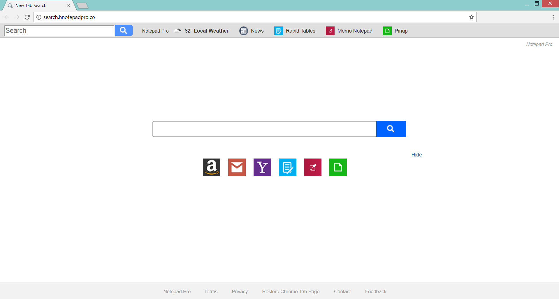 Chrome Brower afectada por Search.hnotepadpro.co secuestrador del navegador