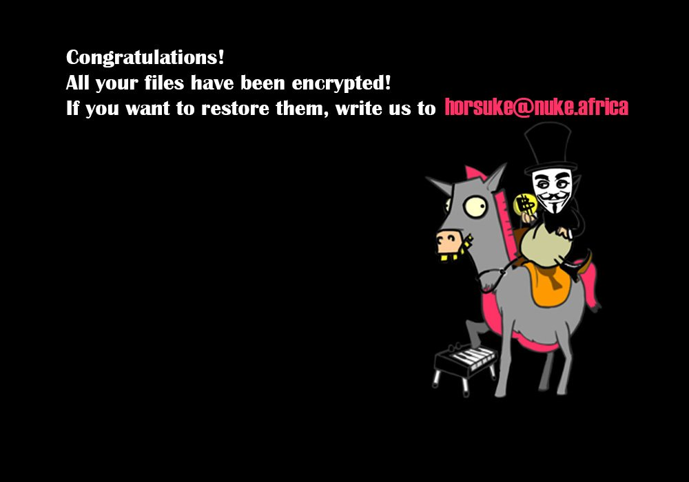 horsuke ransomware desktop background sensorstechforum