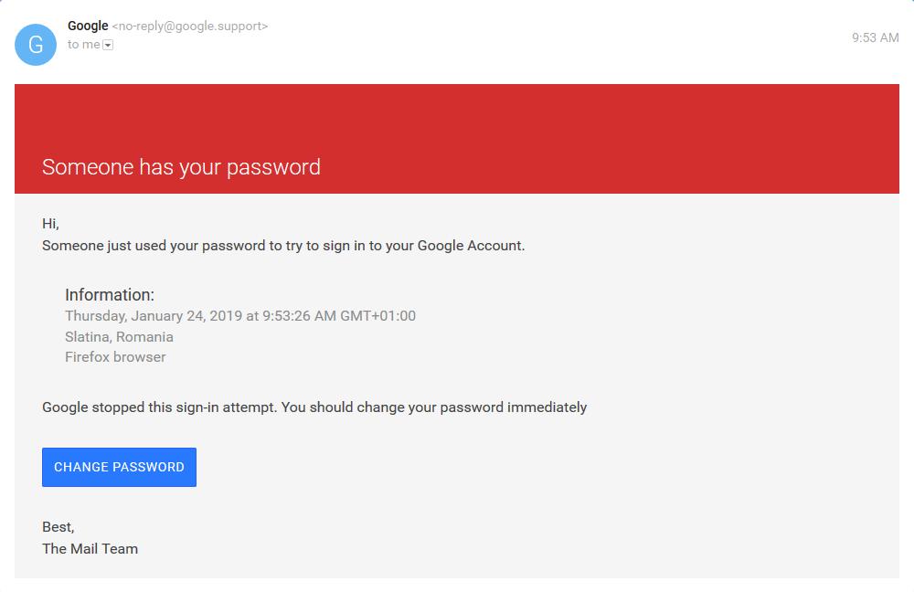 Critical security alert google mail