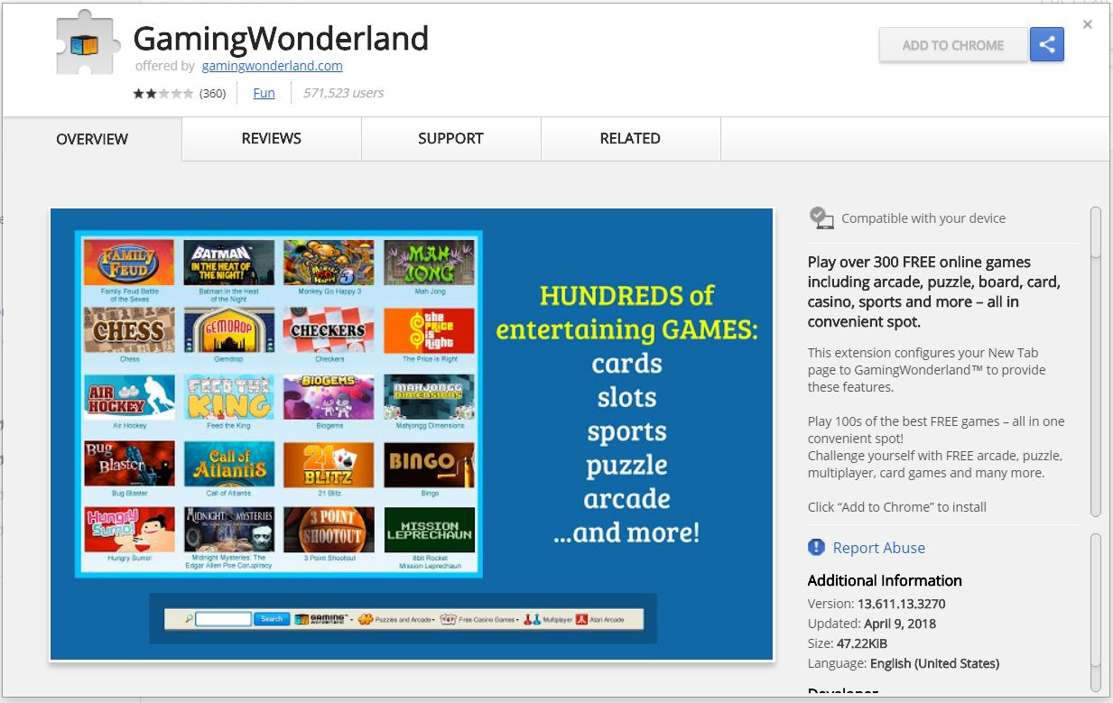 GamingWonderland browser extension released on chrome web store