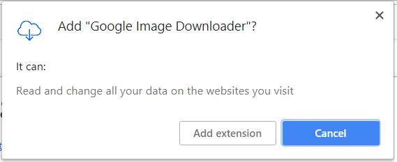 Google Image Downloader browser extension permissions