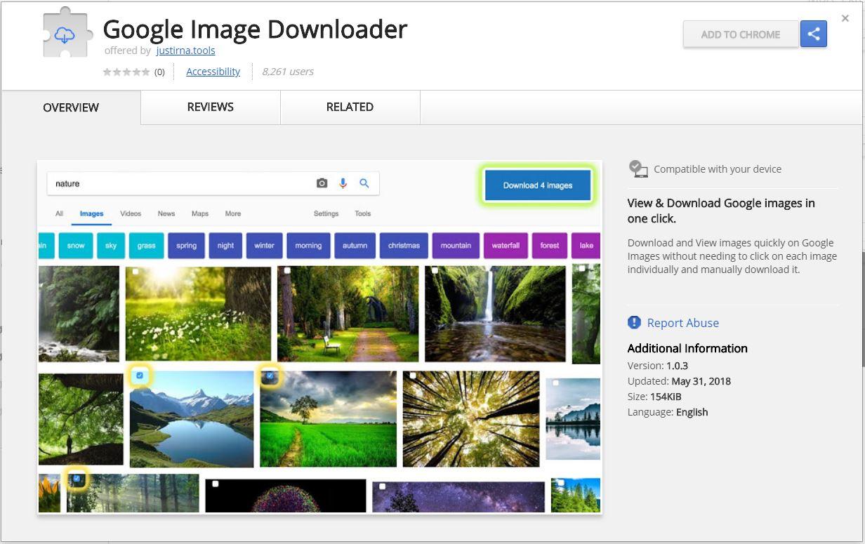 Google Descarga de Imágenes extensión del navegador malicioso lanzado el sensorstechforum Chrome Web Store