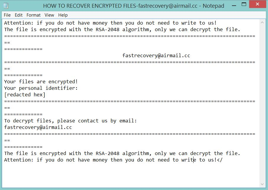 HOW TO RECOVER ENCRYPTED FILES-fastrecovery@airmail.cc.TXT ransom note Scarab ransomware