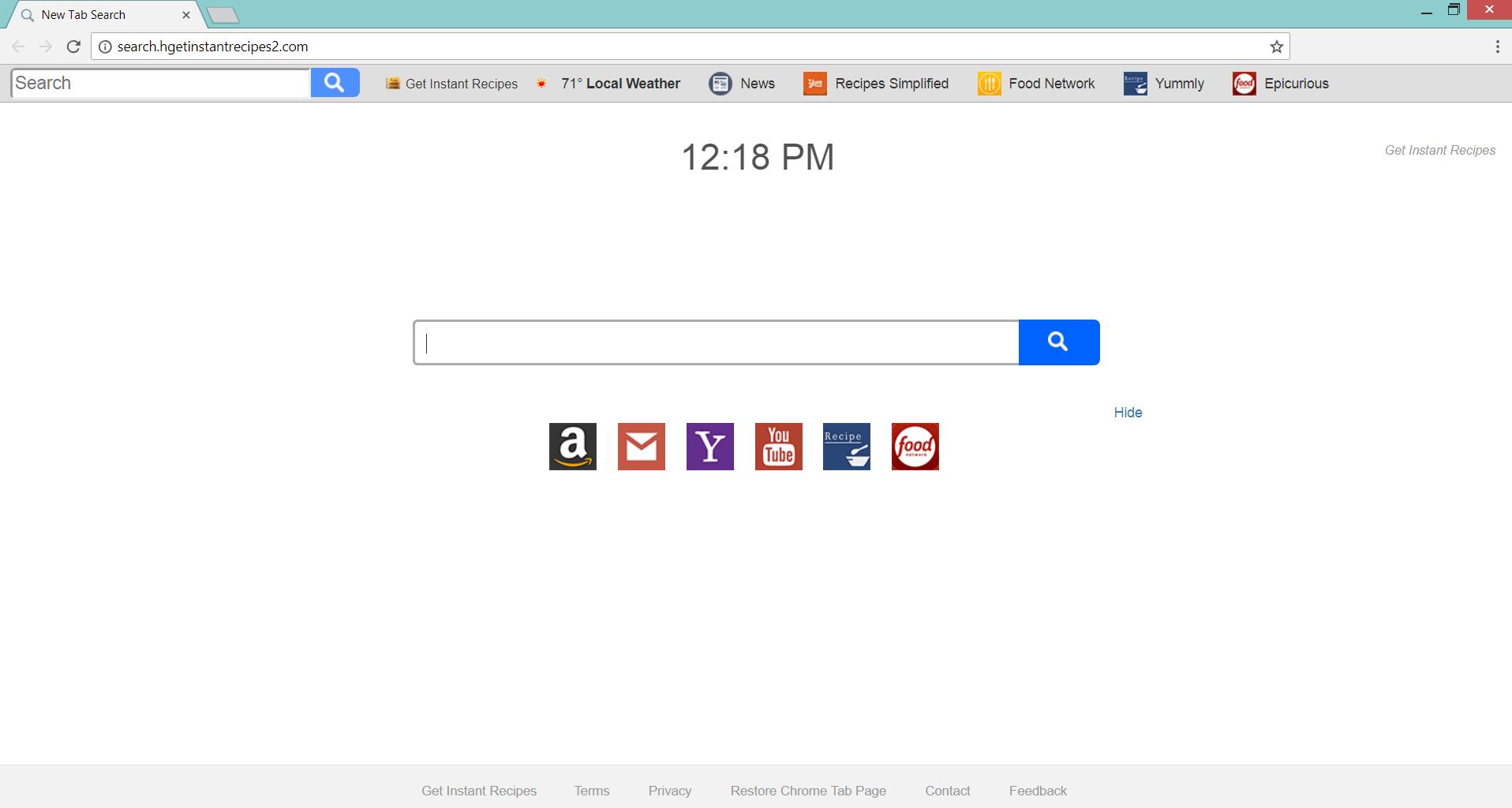 Search.hgetinstantrecipes2.com hijacker affected chrome browser sensorstechforum com