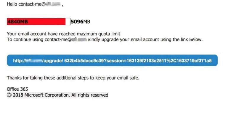 ZeroFont phishing attack image