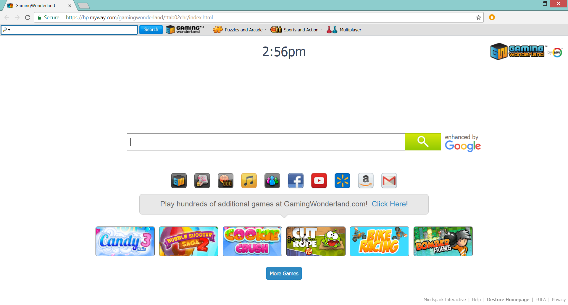 gamingwonderland distributes myway search browser hijacker