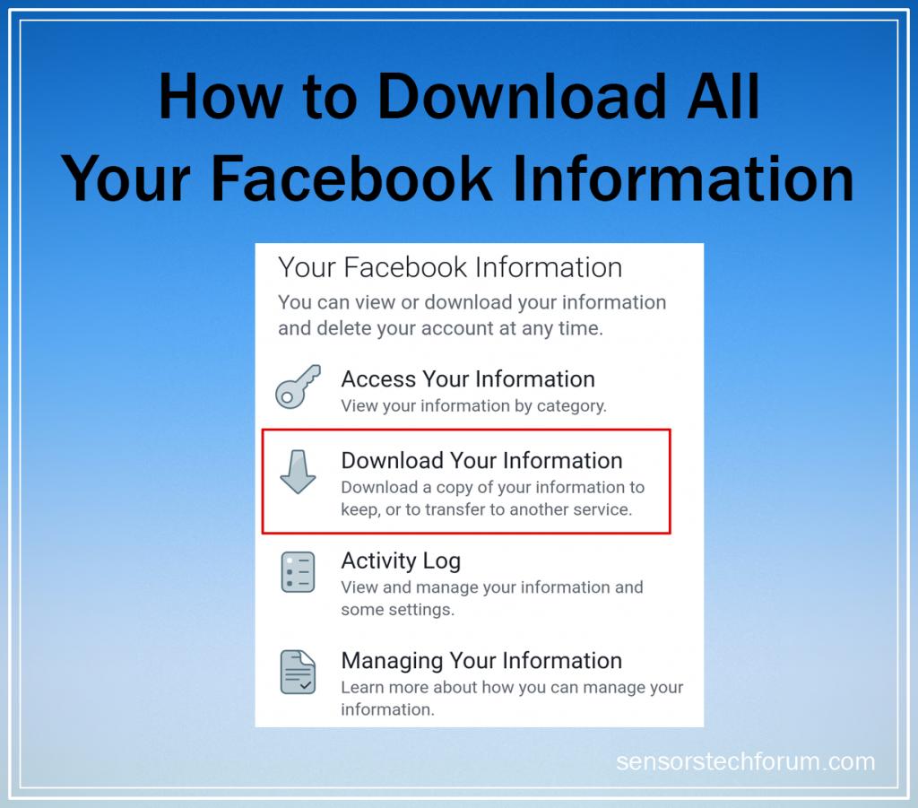 facebook download all data