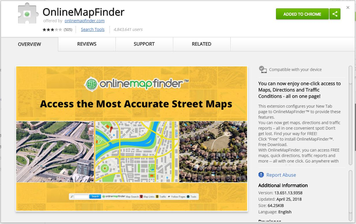 onlinemapfinder browser extension available on chrome web store