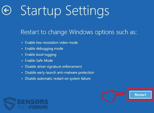 Windows 8 10 Safe Mode Boot Options Step 6 Startup Settings Restart 2018