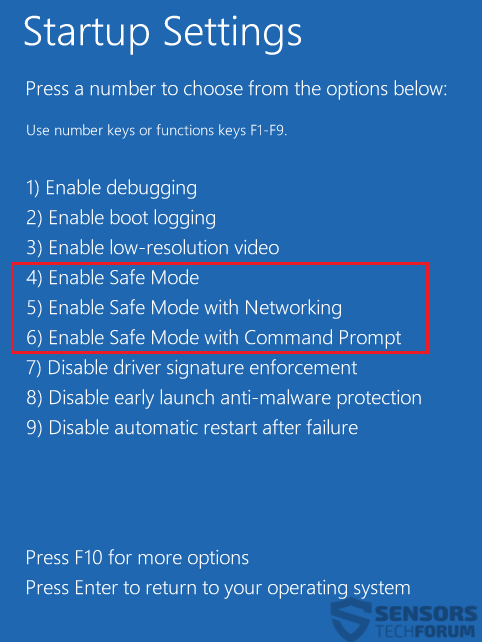 Windows 8 10 Safe Mode Boot Options Step 7 Safe Modes 2018