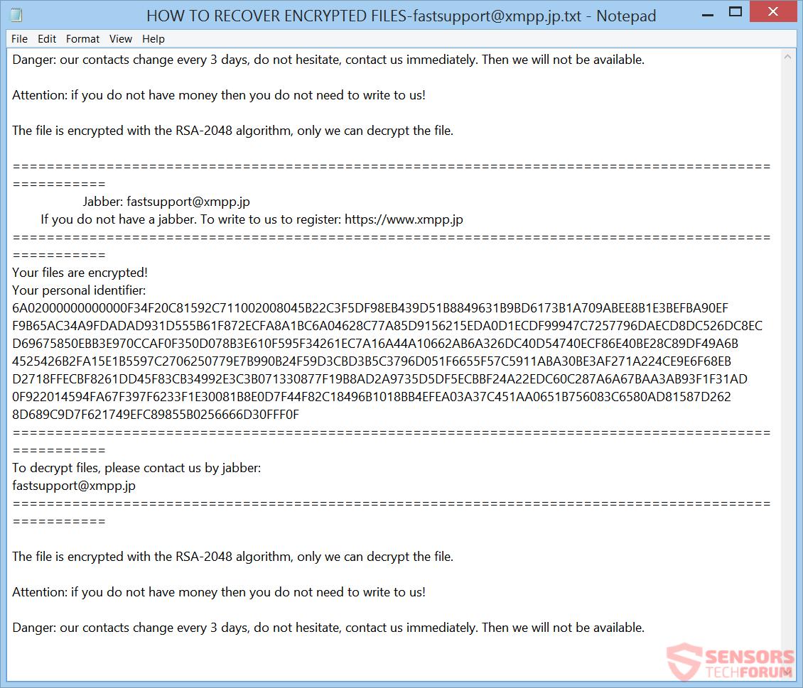 Retire Escarabajo-Peligro ransomware - Restaurar archivos @ xmpp.jp