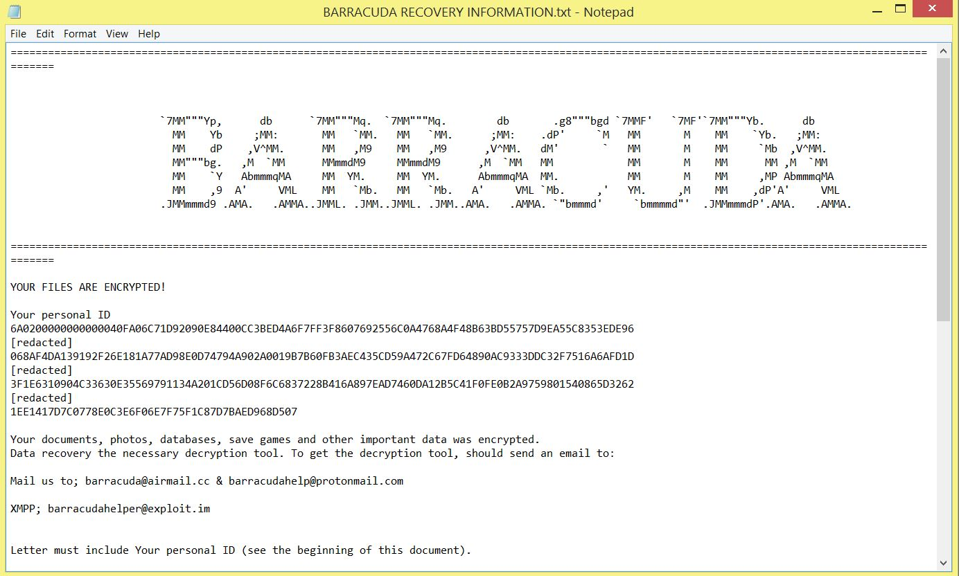 BARRACUDA RECOVERY INFORMATION.TXT Scarab BARRACUDA ransomware ransom note